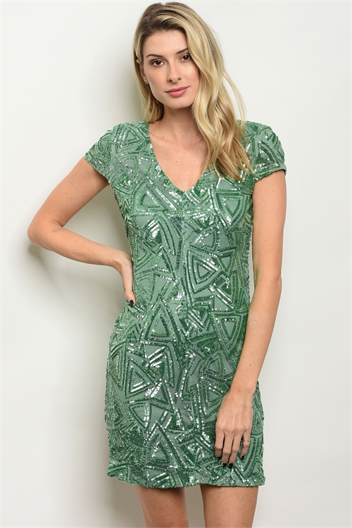 114-4-2-D7475 EMERALD WITH SEQUINS DRESS 2-2-2