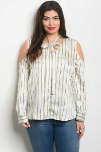 S11-1-3-T2418X IVORY BLACK STRIPES PLUS SIZE TOP 2-2-2