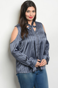 S18-4-1-T2418X BLUE BLACK STRIPES PLUS SIZE TOP 2-2-2