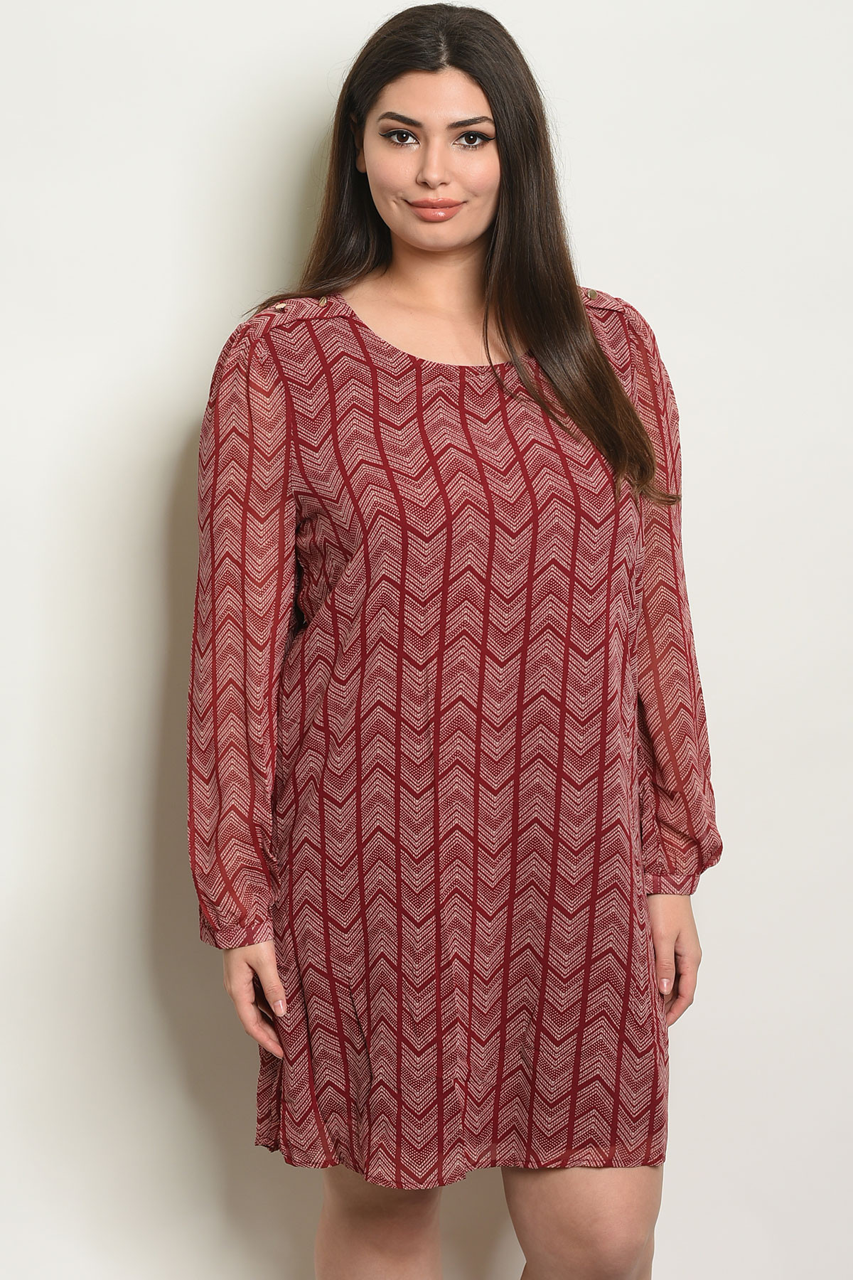 SA4-000-5-D9728X BURGUNDY CREAM PLUS SIZE DRESS 2-2-2