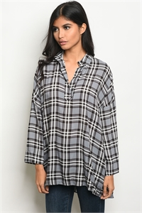 S14-8-2-T4210 GRAY BLACK CHECKERED TOP 3-2-1