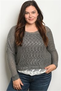 C74-B-1-T17164X GRAY IVORY PLUS SIZE TOP / 3PCS