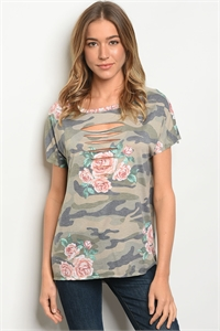 C12-B-1-T2453 OLIVE FLORAL TOP 1-2-2