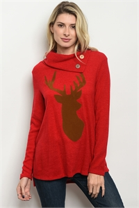 C81-A-3-T2715 RED WITH REINDEER TOP 3-2-1