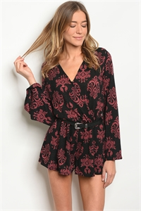 SA4-000-2-R5820 BLACK WINE ROMPER 2-2-2