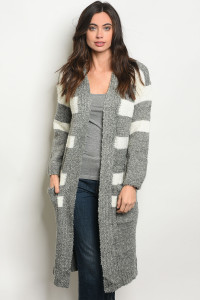 S14-8-3-C9238 GRAY IVORY STRIPES CARDIGAN 1-2