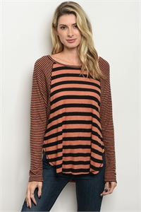 C11-B-2-T2391 RUST BLACK STRIPES TOP 2-2-2