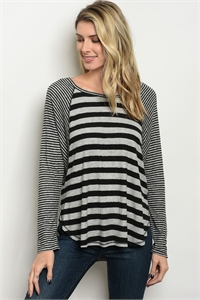 C14-B-1-T2391 GRAY BLACK STRIPES TOP 1-3-2