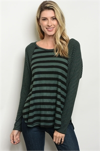 C6-B-1-T2391 GREEN BLACK STRIPES TOP 3-3