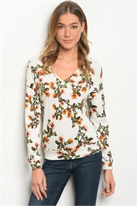 SA4-000-4-T59399 IVORY FLORAL TOP 2-2-2