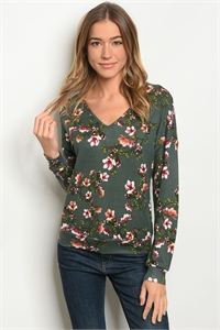 S19-12-1-T59399 GREEN FLORAL TOP 3-1-1