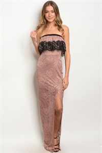 S15-6-1-D5558 MAUVE BLACK LACE DRESS 2-2-2