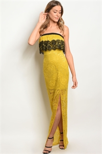 109-2-1-D5558 YELLOW BLACK LACE DRESS 1-2-2