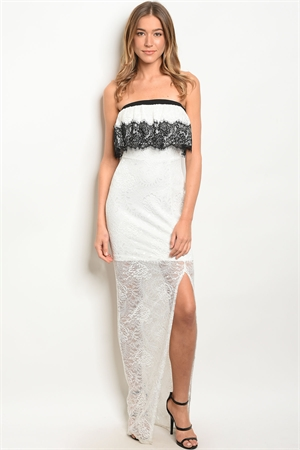 S15-1-5-D5558 WHITE BLACK LACE DRESS 2-2-2