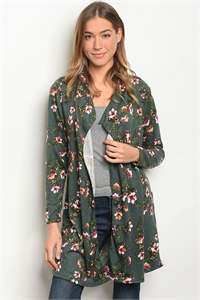 S11-6-3-C59401 GREEN FLORAL CARDIGAN 2-2-2