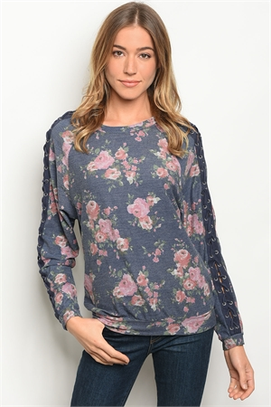 S11-6-5-T10181 NAVY FLORAL TOP 2-2-2