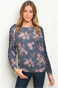 S17-3-4-T10181 NAVY FLORAL TOP 1-1-1