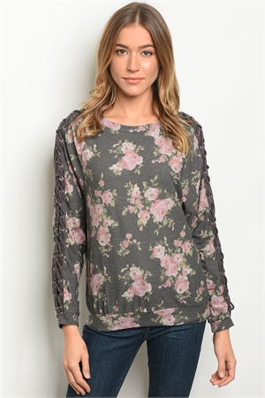 S11-4-4-T10181 CHARCOAL FLORAL TOP 2-2-2