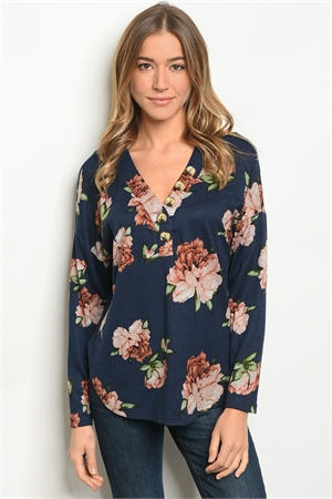 S17-9-5-T25580 NAVY FLORAL TOP 2-2-2