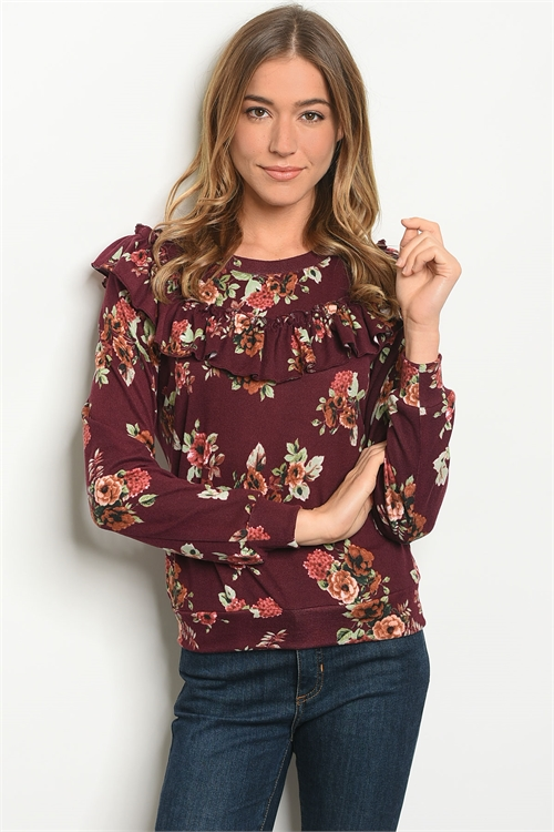 S12-1-1-T10215 BURGUNDY FLORAL TOP 2-2-2
