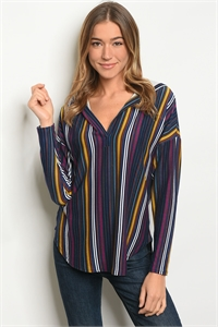 S8-3-4-T66063 NAVY MULTI STRIPES TOP 2-2-2