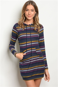 S18-9-5-T66068 NAVY MULTY STRIPES DRESS 2-2-2