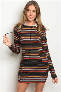 S17-3-5-T66068 BLACK MULTY STRIPES DRESS 2-2-2