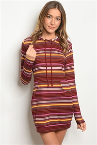 S17-2-5-T66068 WINE MULTY STRIPES DRESS 2-2-2