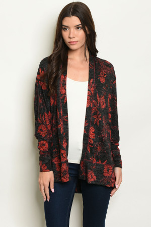 S14-4-2-C32384 BLACK RED CARDIGAN 2-2-2