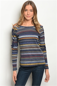 S14-8-3-T10194 NAVY  MULTI TOP 2-2-2