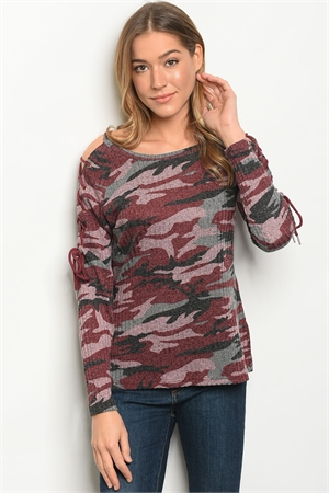 S18-1-1-T10168 BURGUNDY CAMOUFLAGE TOP 2-2-2
