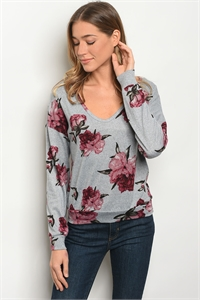 S19-12-1-T25579 GRAY FLORAL TOP / 3PCS