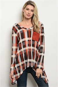 C90-A-1-T6013 INDIGO ORANGE PLAID TOP 2-2