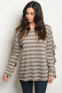 SA3-000-4-T24166 MOCHA STRIPES TOP 2-2-2