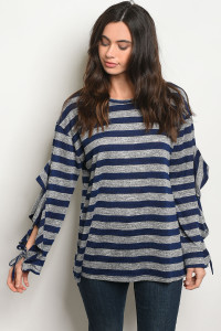 SA3-000-4-T24166 NAVY STRIPES TOP 2-2-2