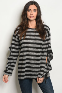 SA3-000-4-T24166 BLACK STRIPES TOP 2-2-2