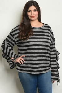 S22-9-3-T24166X BLACK STRIPES PLUS SIZE TOP 3-2-1