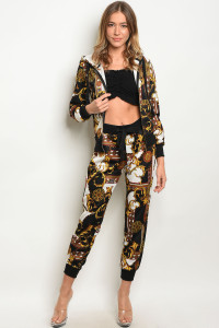 S16-11-4-SET59366 BLACK MUSTARD TOP & PANTS SET 2-1-1