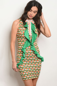 C85-A-5-D4835 GREEN ORANGE PRINT DRESS 2-2-2