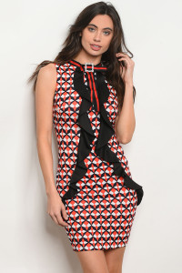 C87-A-2-D4835 BLACK RED PRINT DRESS 2-2-2