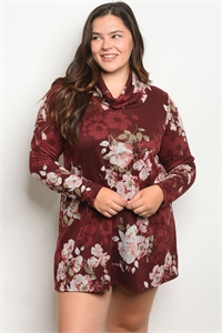 C29-B-1-D389X BURGUNDY FLORAL PLUS SIZE DRESS 1-3-3