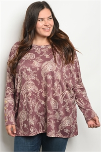 C40-A-1-D527X MAUVE IVORY PLUS SIZE TOP 1-2-2