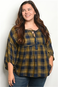 S20-1-3-T1537X NAVY OLIVE PLAID PLUS SIZE TOP 2-2-2