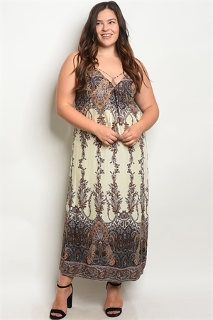 S19-2-3-D2339X IVORY BROWN PRINT PLUS SIZE DRESS 2-2-2