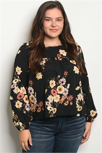 S19-2-2-T11436X BLACK FLORAL PLUS SIZE TOP 2-2-2