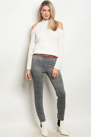 C68-A-6-P14617 GRAY CHECKERED WITH BELT RED PANTS 2-2-2