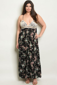 S20-3-1-D2276X BLACK IVORY FLORAL PLUS SIZE DRESS 2-2-2