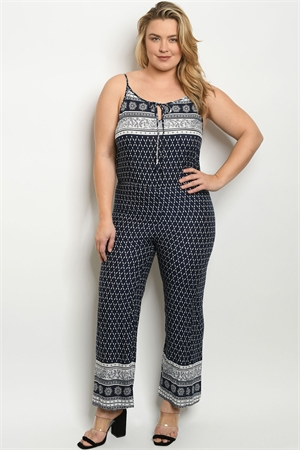 S20-5-3-J3020X NAVY WHITE PLUS SIZE JUMPSUIT 2-2-2