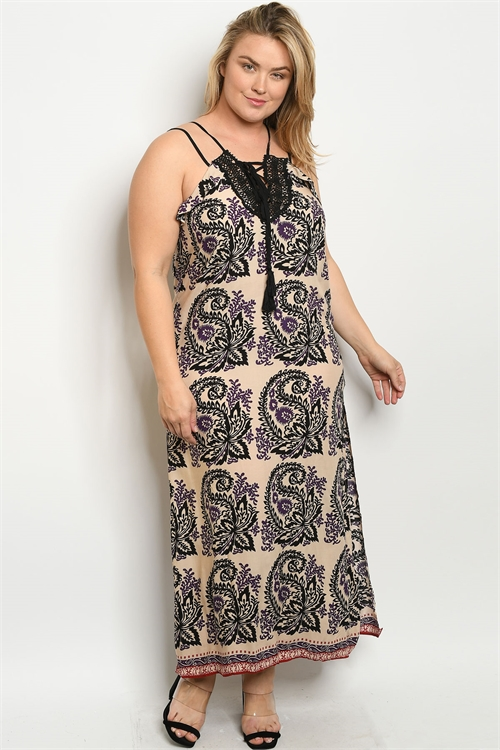S24-4-2-D2334X CREAM BLACK PRINT PLUS SIZE DRESS 2-2-2