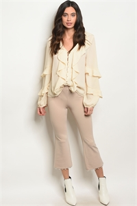 C74-A-3-P14472 SAND WITH PEARLS PANTS 2-2-2
